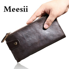Wallets Purse Genuine-Cow-Leather Card-Holder Clutch Brand-Designer Meesii with Men 100-%