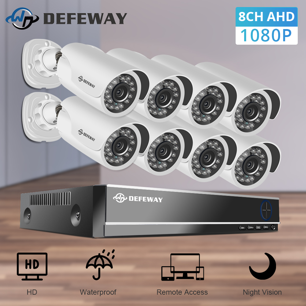 Kit de supraveghere video DEFEWAY Sistem 1080TV HD în aer liber CCTV 8CH DVR 8 Sistem de supraveghere video de securitate
