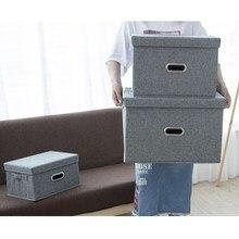 Cotton Linen Storage Box with Lid Drawer Organizer Closet Sundries Book Organizer Box Underwear Clothing Storage Drawer