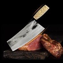 """8 """"שף הקצב סכין הסיני בעבודת יד גבוה מזויפת פחמן בלבוש פלדה בשר קליבר סכין מטבח חיתוך סכין עץ ידיתסכיני מטבח"""