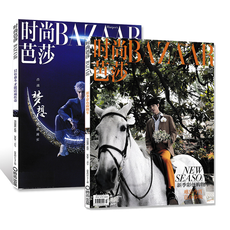2 Books 2020  Xiao Zhan Fashion Magazine Harper's Bazaar Star Interview Figure Photo Album Art Collection Book
