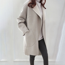Autumn Long Wool Blends Women Solid Gray Retro Slim Office L