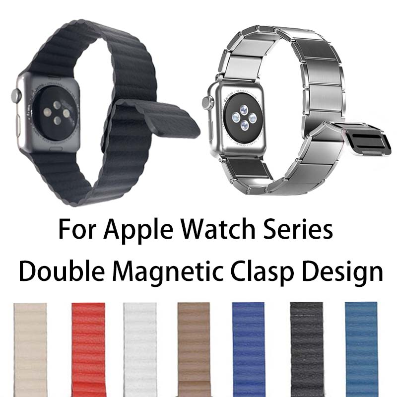 Loop Leather Watch Band For Apple Watch Series 5 4 3 2 1 44/40mm Wrist Strap Stainless Steel Chain Magnetic Clasp Bracelet Band