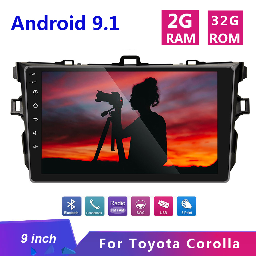 9 inch Android 9.1 2 Din Car Radio Multimedia Player 2din Gps Navigation Wifi Bluetooth for <font><b>Toyota</b></font> <font><b>Corolla</b></font> <font><b>E140/150</b></font> 2007 - 2013 image