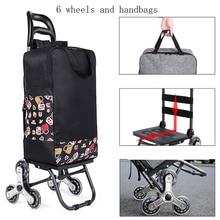 Trolley cart on Wheels Woman Market shopping cart Foldable shopping basket elderly Stairs Trailer cart handbags shopping bags