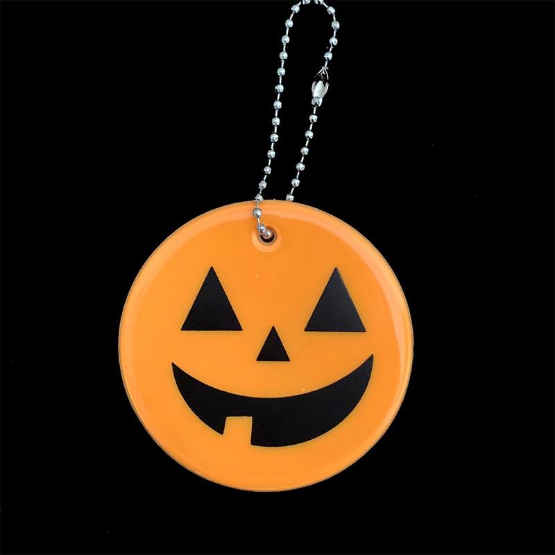 Хэллоуин Тыква брелки мягкий ПВХ отражающий брелок подвесные аксессуары для сумок брелки для дорожного движения видимая Безопасность использования - Название цвета: orange yellow