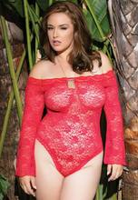 Plus Size 4xl Women See Through Red Black White Lingerie Lace Sex Underwear Onesies Sexy Intimate Wear Costumes Exotic Apparel(China)
