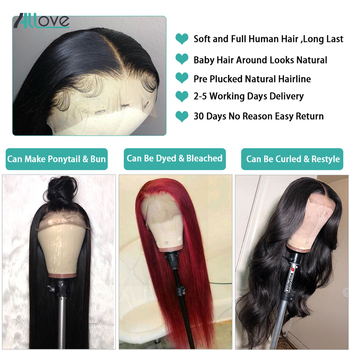 Allove Straight Lace Front Human Hair Wigs Remy 360 Lace Frontal Wig 13X4 13X6 Brazilian Straight Lace Front Wig 250 Density 4