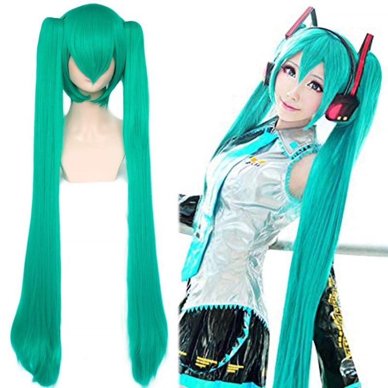 Ebingoo головной убор + Вокалоид Хацунэ Мику синтетический парик для косплея Аниме игра волосы зеленый парик Хэллоуин карнавальный костюм