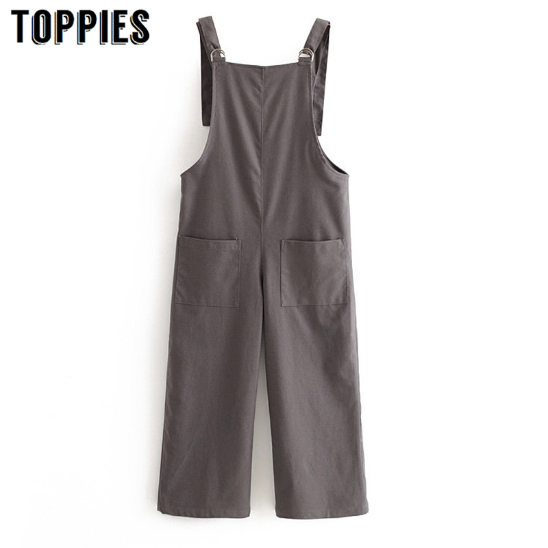 2020 Spring Gray Suspender Pants Women Overalls Casual Cargo Pants Loose Trouser Streetwear