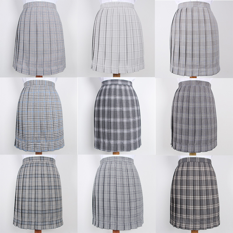 Japanese School Dresses For Girls Gray Plaid Pleated Skirt Women JK Uniform Skirt High School Student Anime Sailor Suit Skirt