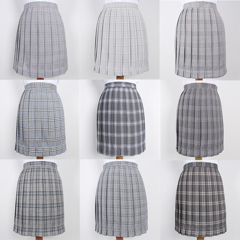 Japanese School Dresses For Girls Gray Plaid Pleated Skirt Women JK Uniform Skirt High School Student Anime Sailor Suit Skirt