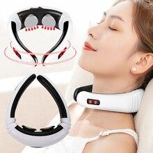 Электрический импульсный массажер для шеи USB Перезаряжаемый релаксационный массаж шейки матки уход за здоровьем облегчение боли инструмент терапия массажер для спины
