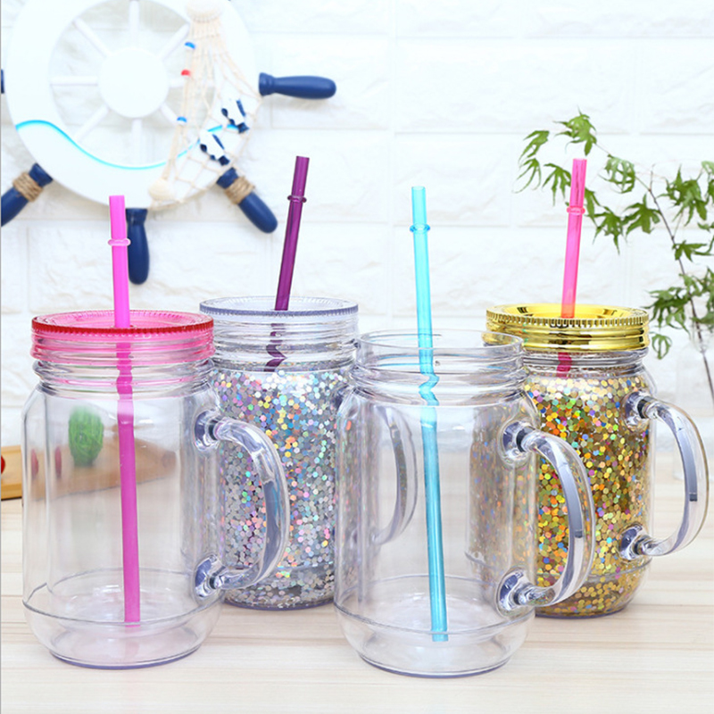 Plastic Mason Jars 16oz Double Insulated Tumbler With Handle Lids And Straw Wide Mouth Water Bottle For Kids Gift Summer Cups