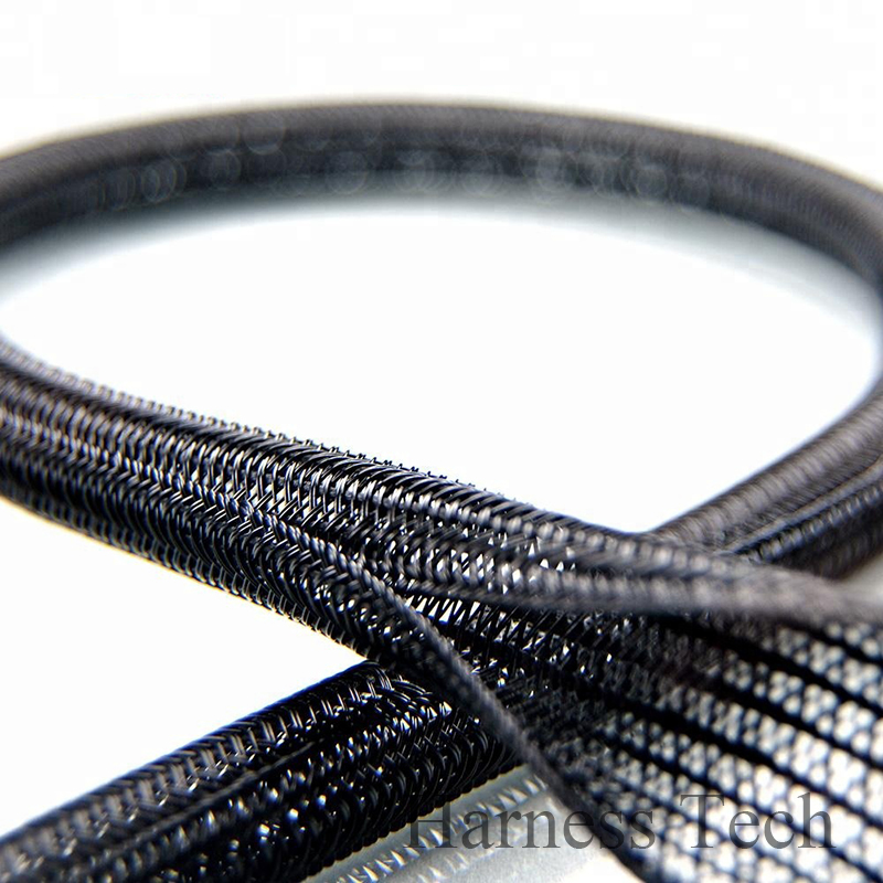 Black Nylon Cable Braided Heat Sleeve Wrap Wire Hook and Loop Fastener 10Ft NEW