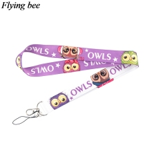 Flyingbee Owls Animal Keychain Cartoon Cute Phone Lanyard Women Fashion Strap Neck Lanyards for ID Card Phone Keys X0717
