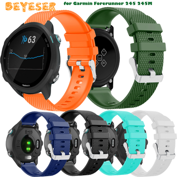 цена на 20mm Silicone Replacement Watch Strap for Garmin Forerunner 245 245M 645 645 music Bracelet Wristband Watchband for vivomove HR