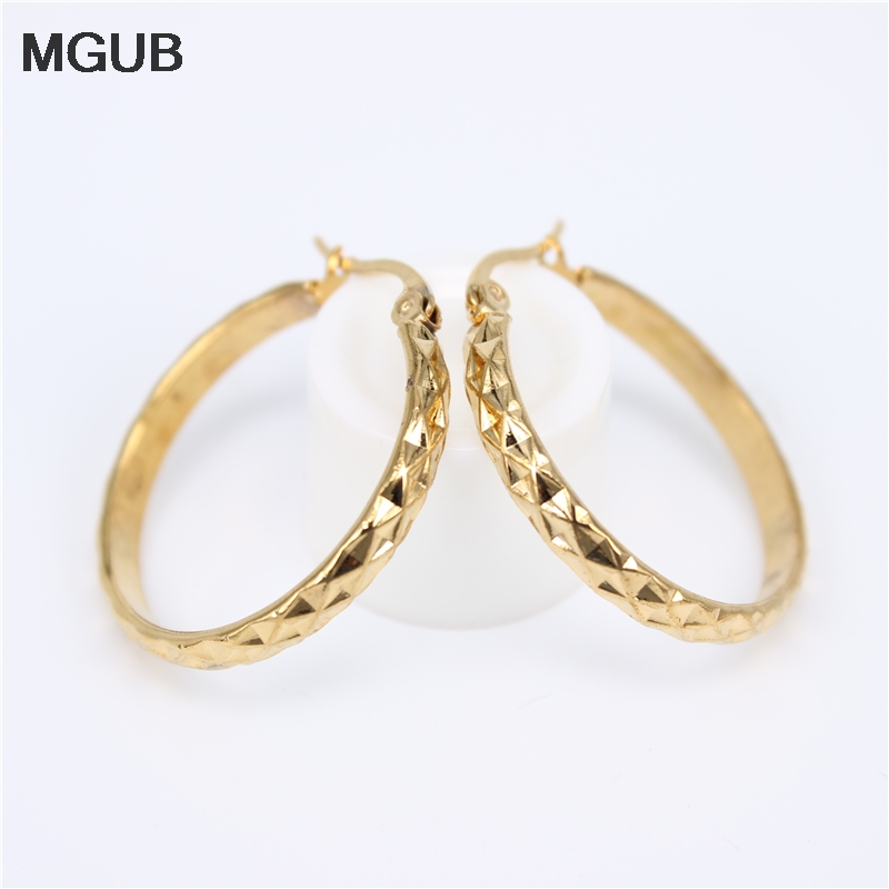 Diameter 27-45MM Vintage Big Earrings For Women Geometric Gold Color Stainless Steel Hoop Earrings Trend Fashion Jewelry LH825