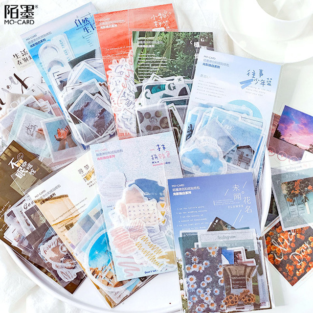40pcs vintage light and shadow monologue big size album notebook DIY decorative memo stickers package ins style