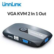 Unnlink 2X1 VGA KVM переключатель коробка Селектор с расширителем 2 порта USB 2,0 общий монитор мышь Клавиатура для 2 компьютера Ноутбуки ПК