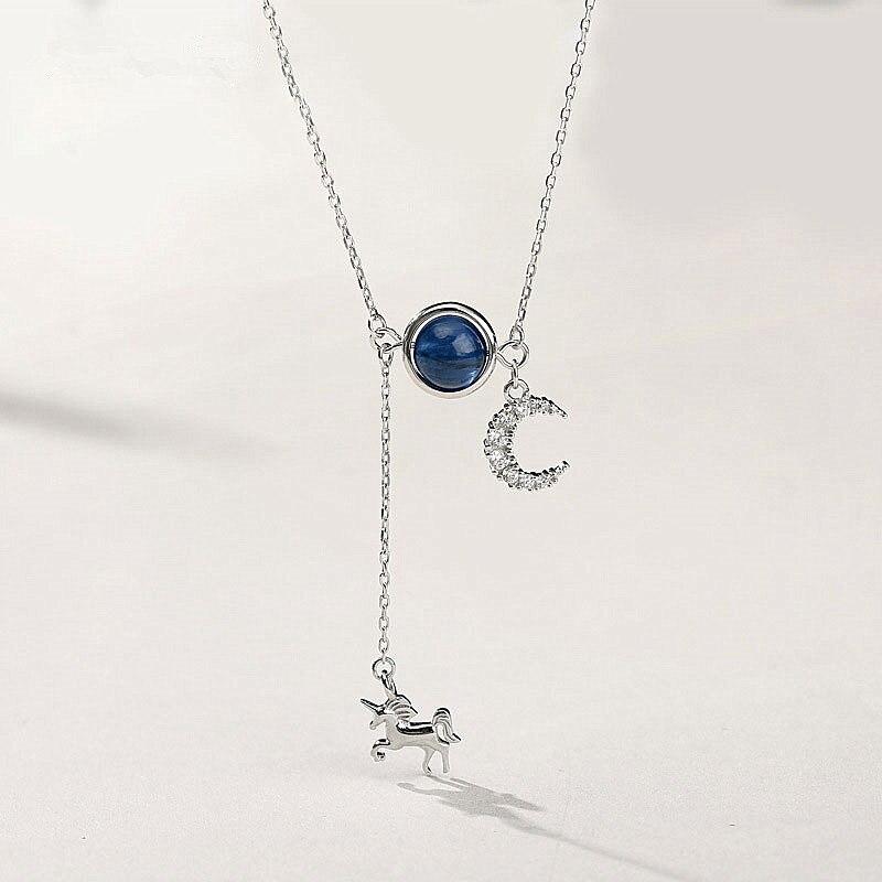 925 Sterling Silver Necklace Multi-Element Jewelry Long Tassel Unicorn Clavicle Chain Elegant Moon Pendant For Women