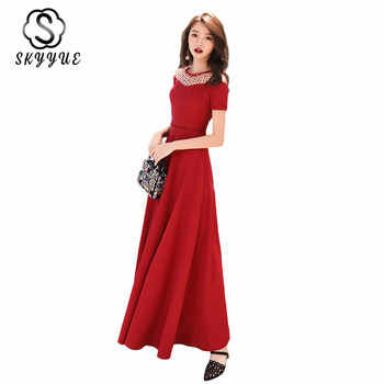 Evening Dresses Long Skyyue ER252 Burgundy Robe De Soiree Hollow Out Crystal Vestidos De Noche Largos Formal Gowns For Women