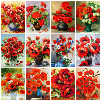 AZQSD Painting By Numbers Poppy Flower Arcylic Pictures Oil DIY Unframed Decoration