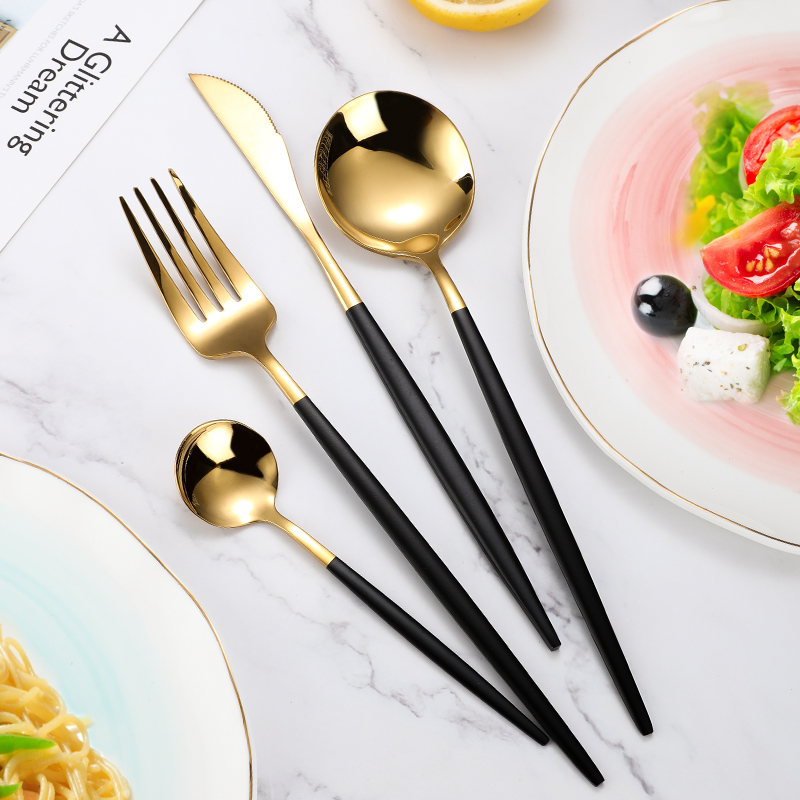 4Pcs/set Black Gold Cutlery Set 18/10 Stainless Steel Dinnerware Silverware Flatware Set Dinner Knife Fork Spoon Dropshipping 4