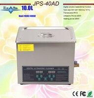 newest 110V/220V Dual frequency 40KHz/28KHZ 240W JPS 40AD Digital heater&timer Ultrasonic Cleaner 10L