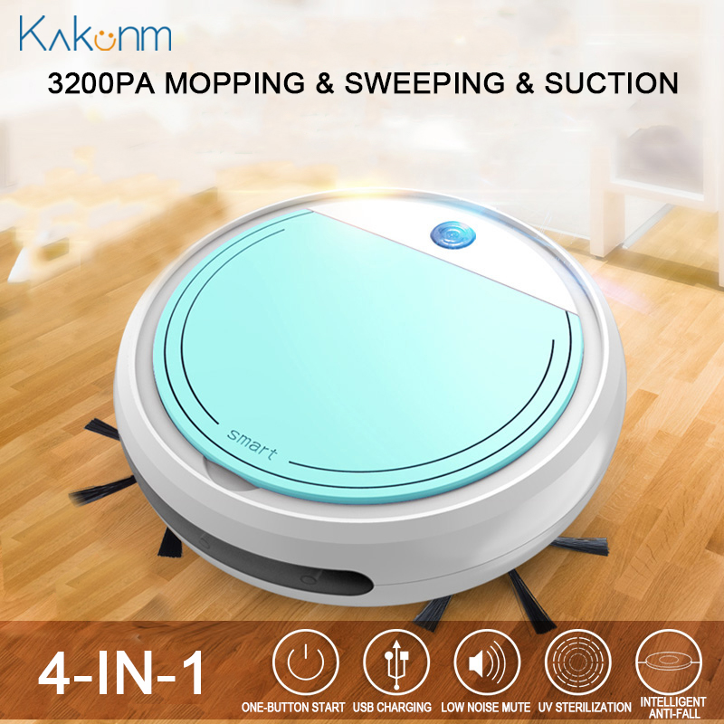 Rechargeable Smart Vacuum Cleaners Robot 4 In 1 3200pa USB Auto Smart Sweeping Dry Wet Mop UV Sterilizer Strong Suction Sweeper
