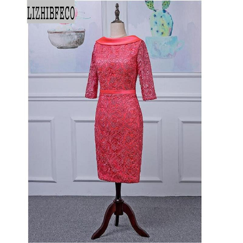 Lace Satin 3/4 Sleeves Scoop Knee-Length Mother Of The Bride Dress Custom Made