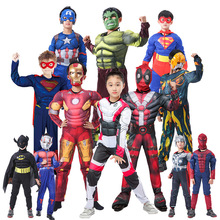 Christmas Cosplay Boys Muscle Super Hero Captain America Costume Spiderman Bodysuit Suit Child