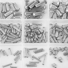 250Pcs/set M2-M5 Stainless Steel Round  Knurled Shank Solid Rivets Assortment Set nut for wood