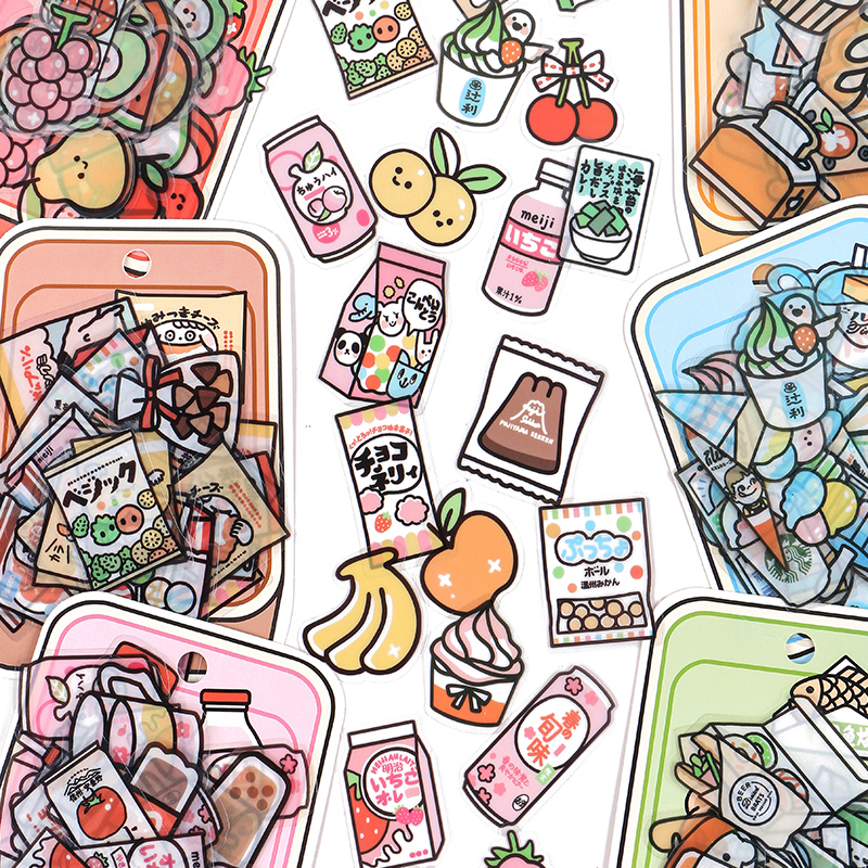 40pcs Food Series stickers Set Kawaii Cartoon Diary Album Stationery Sticker aesthetic Decorative collage planner Album