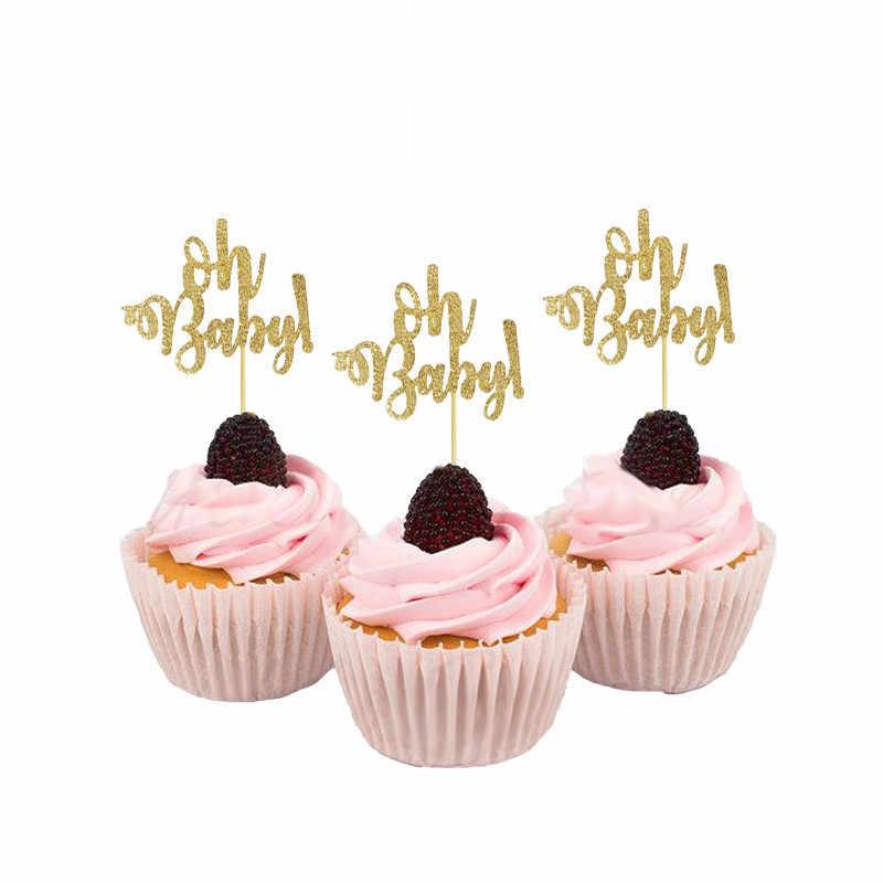 Chicinlife 골드 일회용 식기 오 베이비 종이 접시 컵 냅킨 생일 파티 칼 붙이 베이비 샤워 성별 공개 용품
