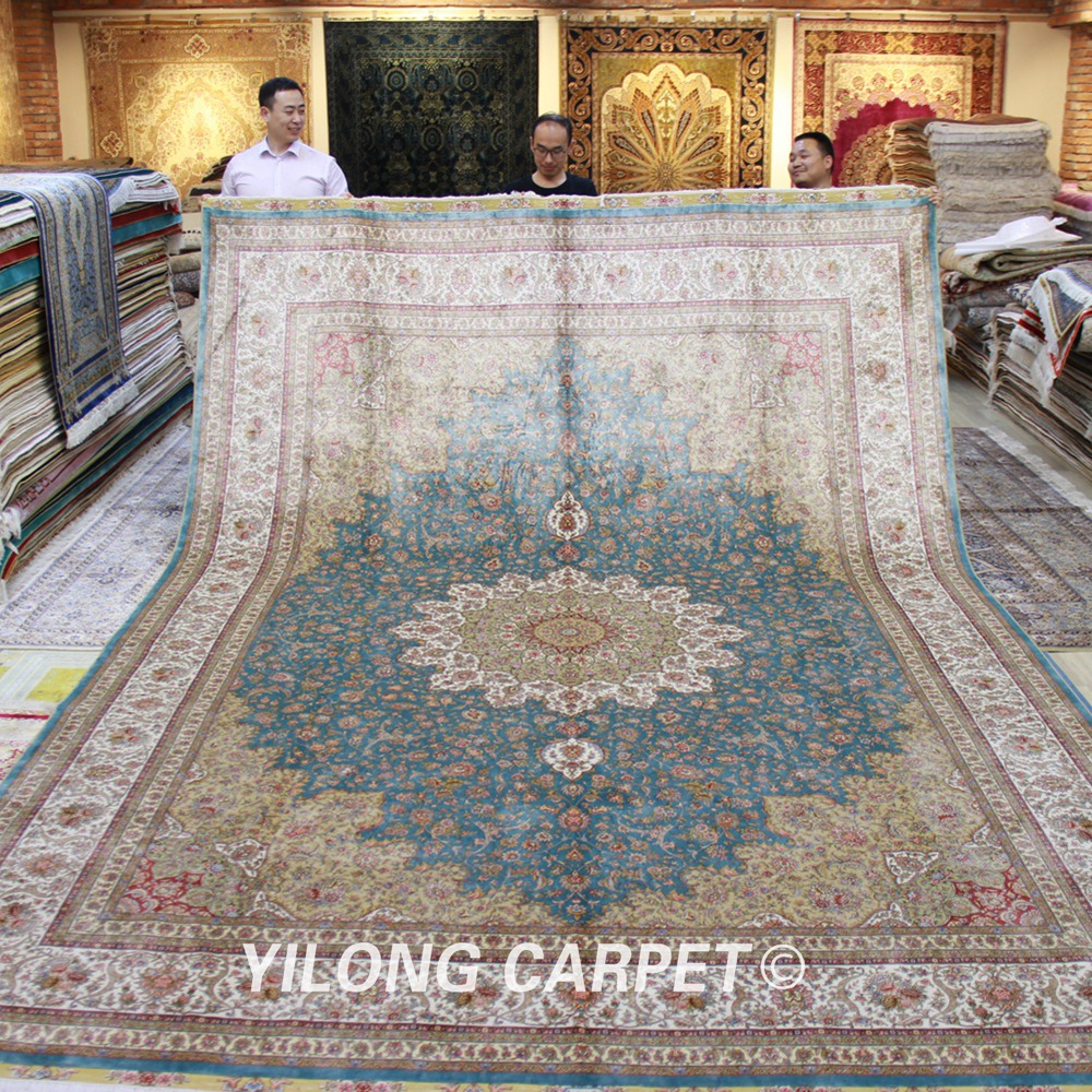 Yilong 10'x14' Elegant Light Blue Turkish Design Handknotted Silk Persian Hand Made Carpets (TJ061A)