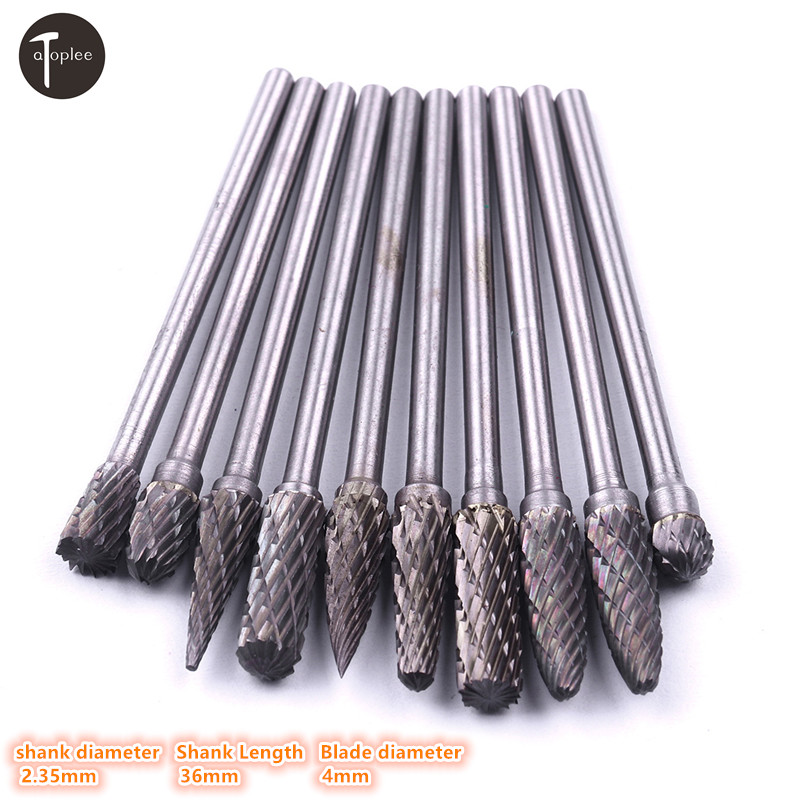 1pcs 2.35mm Tungsten Carbide Rotary Burr Cutter Set For Dremel Rotary Tools 4mm Blade File Milling Cutter Engraving Bit