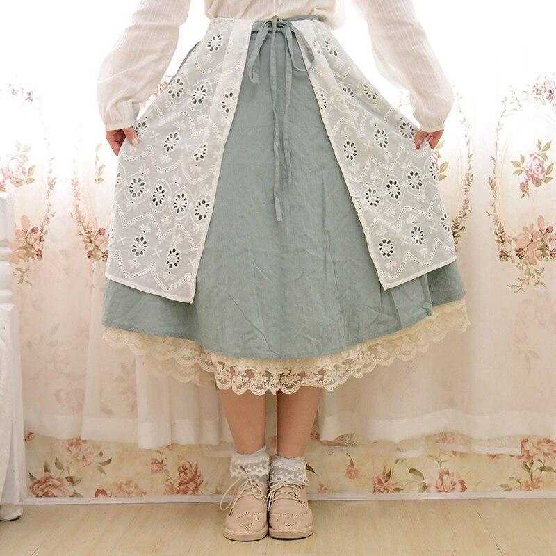 Mori Girl Vintage Retro Ethnic Hippie Boho Bohemian Lolita Layer Cotton Linen Crochet Patchwork Elastic Waist Women Autumn Skirt