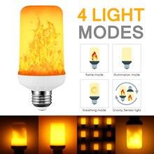 E27 светодиодный динамический эффект пламени Кукуруза лампа 4 режима 2835 SMD AC 85-265V Мерцающая эмуляция Гравитация Декор лампа в стиле огня