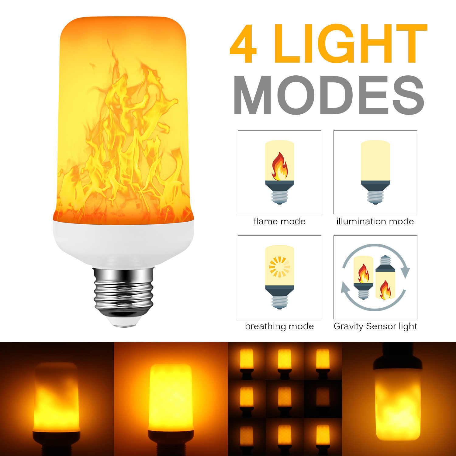 E27 LED Dynamic Flame Effect Corn Bulb 4 Modes 2835 SMD AC 85-265V Flickering Emulation Gravity Decor Lamp Fire Lights