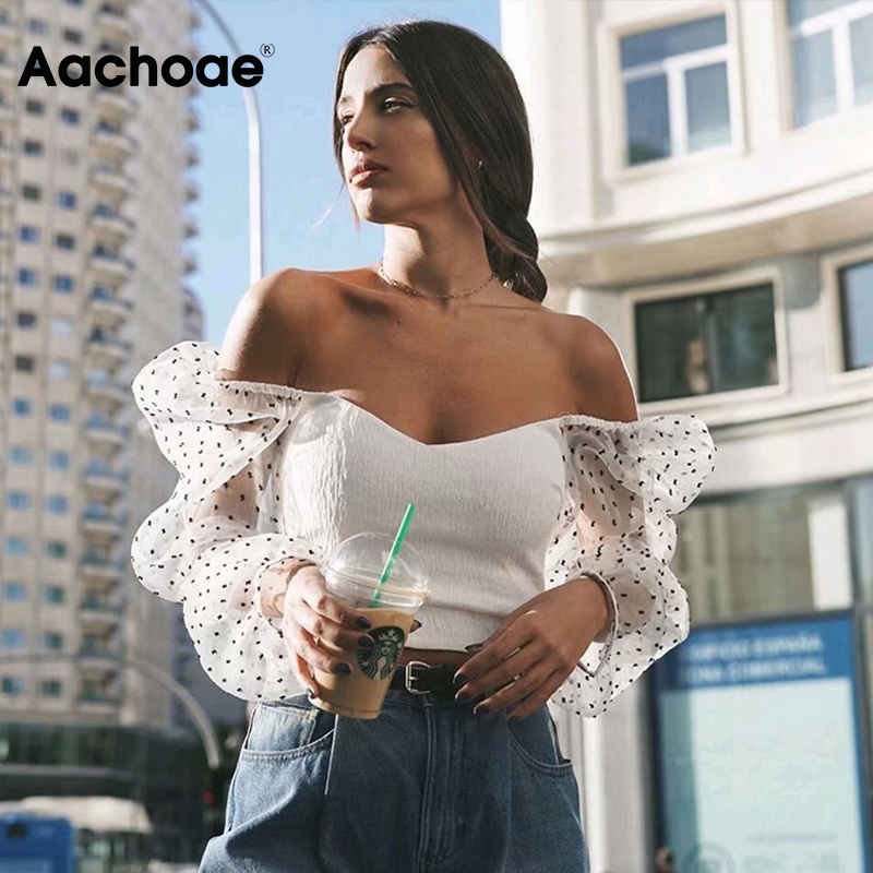 Mesh Patchwork Chic Blouses Women Transparent Long Sleeve Crop Top Female Fashion Short Blouse Shirt Tunic Chemisier Femme