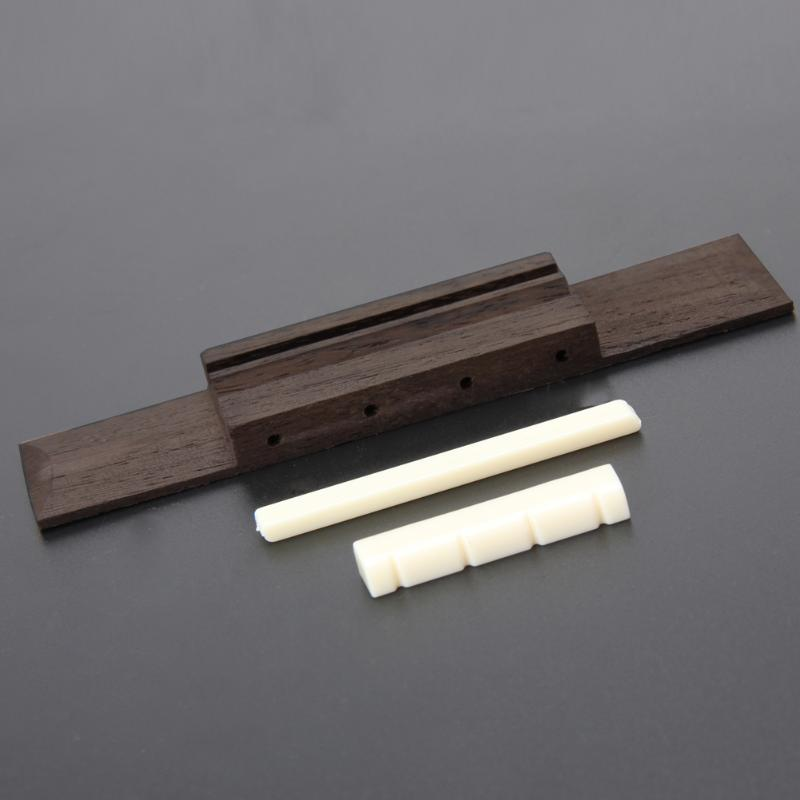 Ivory ABS Nut And Saddle Slotted + 110mm Rosewood Bridge For Ukulele Parts Replaceable High Quality Musical Accessories
