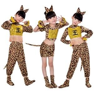 Dzieci zwierząt wzór w cętki kot chłopiec Cosplay dzieci pies dziewczyna wydajność kostium tygrys sukienka na karnawał Halloween Fancy Dance