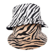 Bucket Hat Women Zebra Stripe Panama Cap Beach Reversible Spring Climbing Holiday Outdoor Accessory For Spring outdoor gesture finger pattern reversible bucket hat