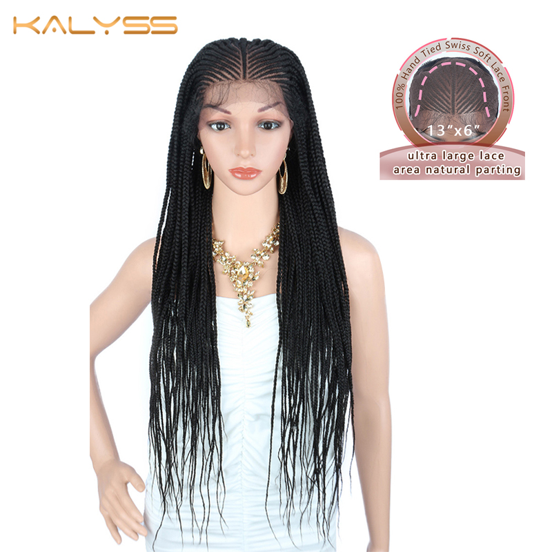 Kalyss 30 Inches 13x6 Hand Braided Wigs For Women Synthetic Lace Front Black Twist Braids Wig With Baby Hair For Black Women