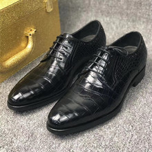 Suit Shoes Dress Alligator Crocodile Business-Style Male Black Men's Genuine Lace-Up