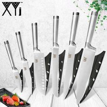 XYj 7Cr17mov Germany Stainless Steel Knives Fruit Utility Santoku Knife Chef Slicing Bread Vegetable Kitchen Sets