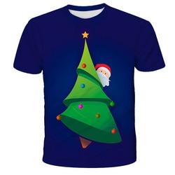 4T-14T Children's Fun Santa T-shirt Short Sleeve Summer Elf Christmas Element Christmas Tree Dress Up 3D Printing T-shirt
