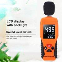 Nível de som digital db medidores 30db 130130db decibe noise logger detector ferramenta diagnóstico testador temperatura com luz de fundo|Medidores de nível de som| |  -