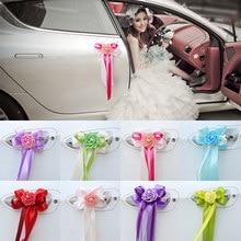 1pc klamki do drzwi piękne Party materiały świąteczne lusterko wsteczne ślub samochód kwiat wstążka z węzłem dekoracje 12 kolory 17x35cm